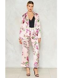 Pantaloni eleganti di raso a fiori rosa