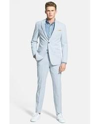 Pantaloni eleganti di seersucker a righe verticali azzurri