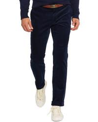 Pantaloni eleganti di velluto a coste blu scuro