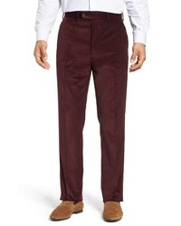 Pantaloni eleganti di velluto a coste bordeaux