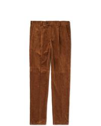 Pantaloni eleganti di velluto a coste marroni di Brunello Cucinelli