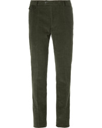 Pantaloni eleganti di velluto a coste verde oliva