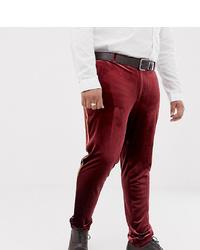 Pantaloni eleganti di velluto bordeaux