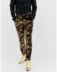 Pantaloni eleganti di velluto marroni di ASOS DESIGN
