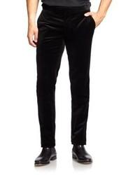 Pantaloni eleganti di velluto neri