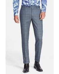 Pantaloni eleganti scozzesi blu