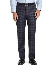 Pantaloni eleganti scozzesi blu scuro