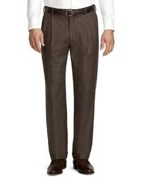 Pantaloni eleganti scozzesi marroni