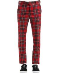 Pantaloni eleganti scozzesi rossi