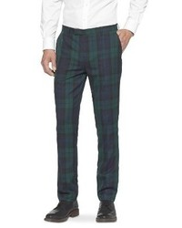Pantaloni eleganti scozzesi verde scuro