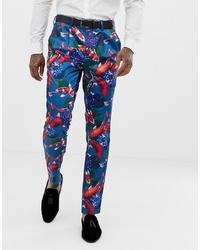 Pantaloni eleganti stampati blu di ASOS DESIGN