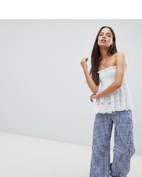 Pantaloni larghi a quadretti blu