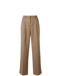 Pantaloni larghi a quadri marrone chiaro