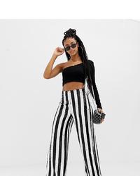 Pantaloni larghi a righe verticali bianchi e neri di Collusion