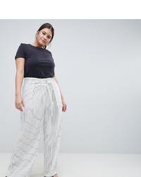Pantaloni larghi a righe verticali bianchi di ASOS WHITE