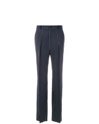 Pantaloni larghi a righe verticali blu scuro e bianchi di Lanvin
