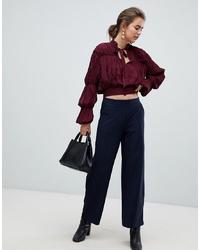 Pantaloni larghi a righe verticali blu scuro di B.young