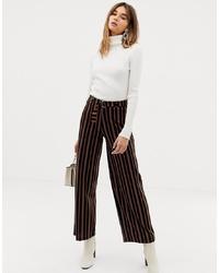 Pantaloni larghi a righe verticali neri di Pieces