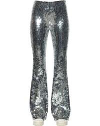 Pantaloni larghi con paillettes argento