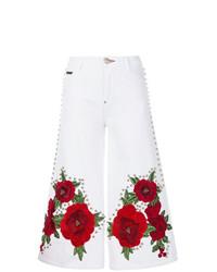 Pantaloni larghi di jeans stampati bianchi di Philipp Plein