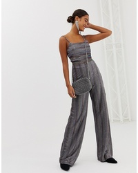 Pantaloni larghi di lana a righe verticali grigi di Miss Selfridge