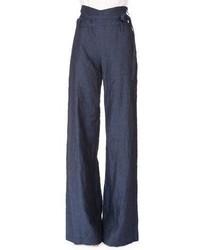 Pantaloni larghi di lino blu scuro