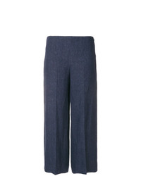 Pantaloni larghi di lino blu scuro di Theory