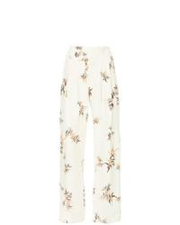Pantaloni larghi di lino stampati beige di Matin