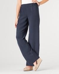 Pantaloni larghi di seta blu scuro