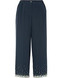 Pantaloni larghi di seta decorati blu scuro di Miu Miu