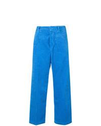 Pantaloni larghi di velluto a coste blu