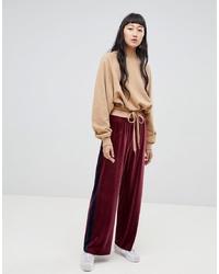 Pantaloni larghi di velluto bordeaux di Weekday
