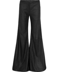 Pantaloni larghi in pelle neri