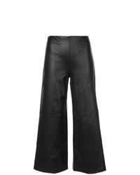 Pantaloni larghi in pelle neri di Adam Lippes