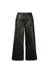 Pantaloni larghi in pelle neri di Chalayan