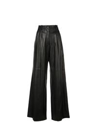 Pantaloni larghi in pelle neri di Nili Lotan