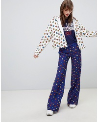 Pantaloni larghi stampati blu scuro di Love Moschino