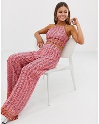 Pantaloni larghi stampati rosa di Glamorous