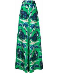 Pantaloni larghi stampati verdi di Gucci
