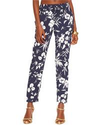 Pantaloni skinny a fiori blu scuro