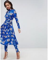 Pantaloni skinny a fiori blu di ASOS DESIGN