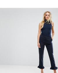 Pantaloni skinny a righe verticali blu scuro di Y.A.S Tall