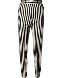 Pantaloni skinny a righe verticali neri e bianchi