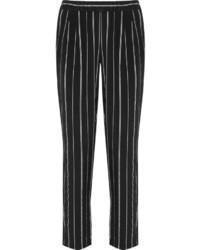 Pantaloni skinny a righe verticali neri