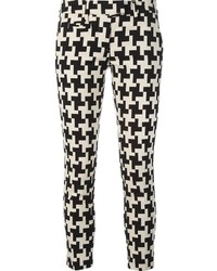 Pantaloni skinny con motivo pied de poule neri e bianchi