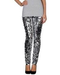 Pantaloni skinny con paillettes argento