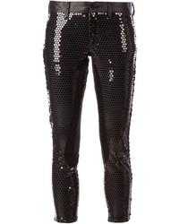 Pantaloni skinny con paillettes neri