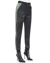 Pantaloni skinny di seta neri