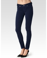 Pantaloni skinny di velluto a coste blu scuro