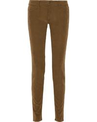 Pantaloni skinny di velluto a coste marroni